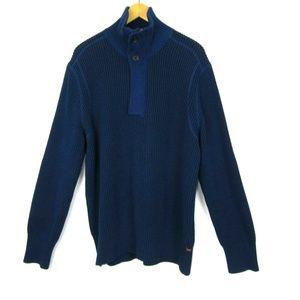 Banana Republic Scuba Neck Sweater Blue XL Men's